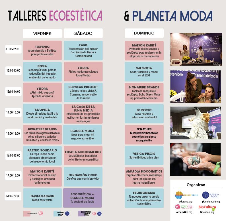Programa de actividades showroom de Planeta Moda y EcoEstética